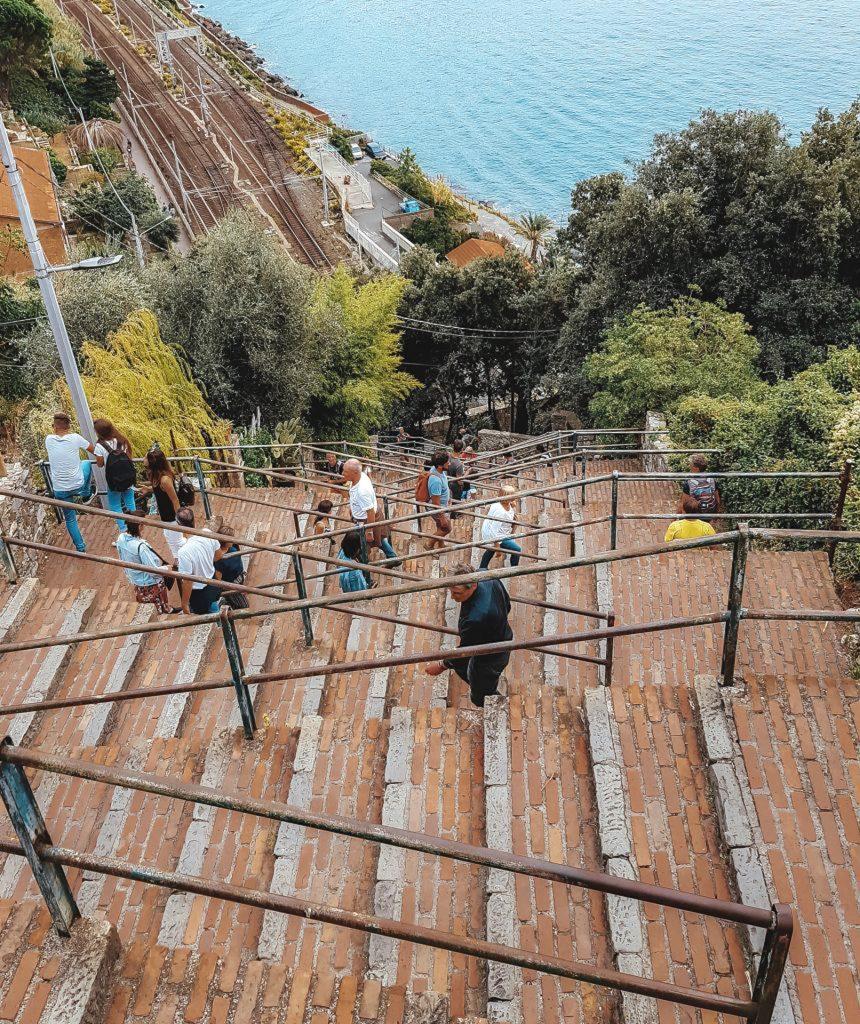 Stairs to the train station in Corniglia, Cinque Terre, Italy